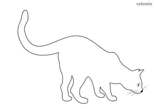Sniffing cat coloring page