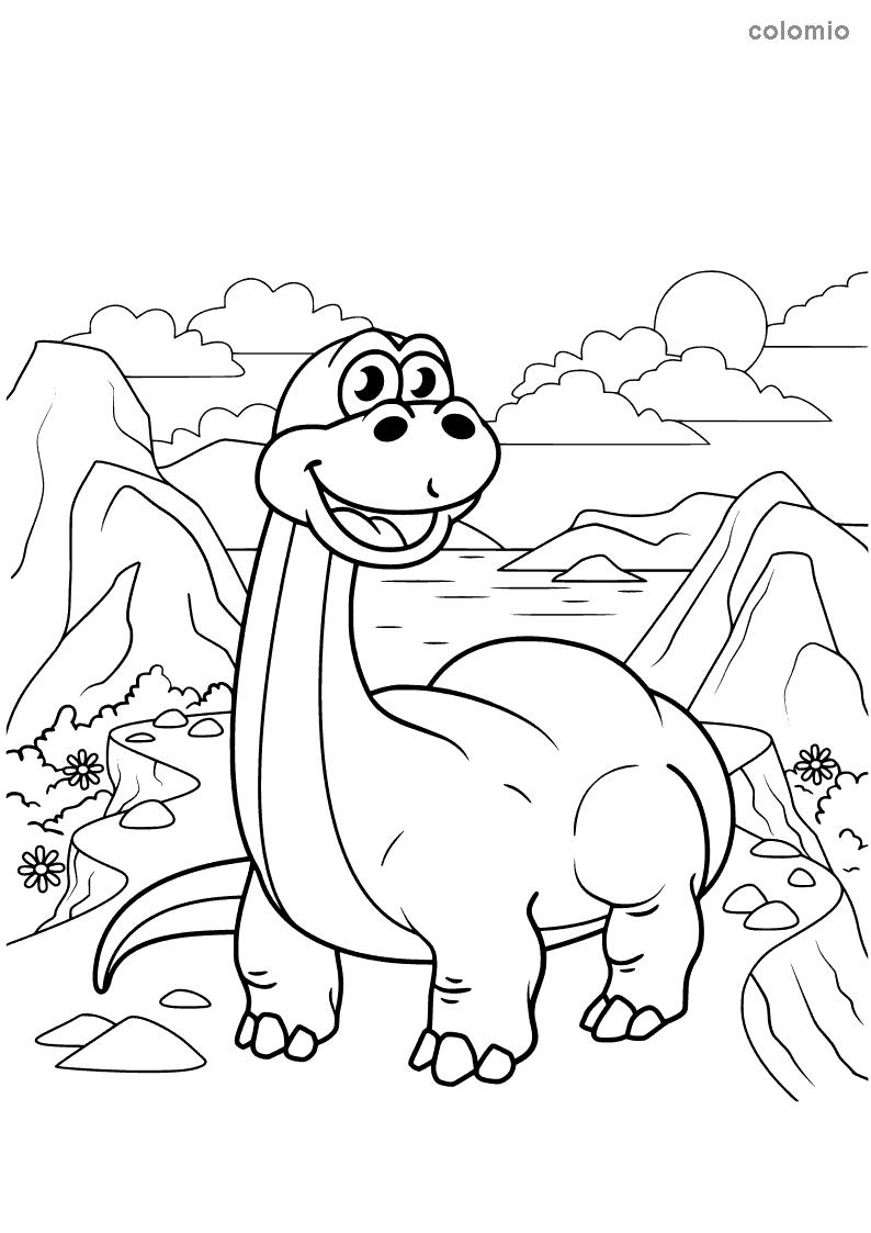 Cute brachiosaurus coloring page