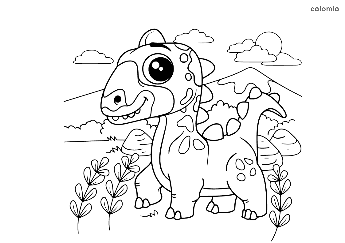 Dino with big eyes coloring pages