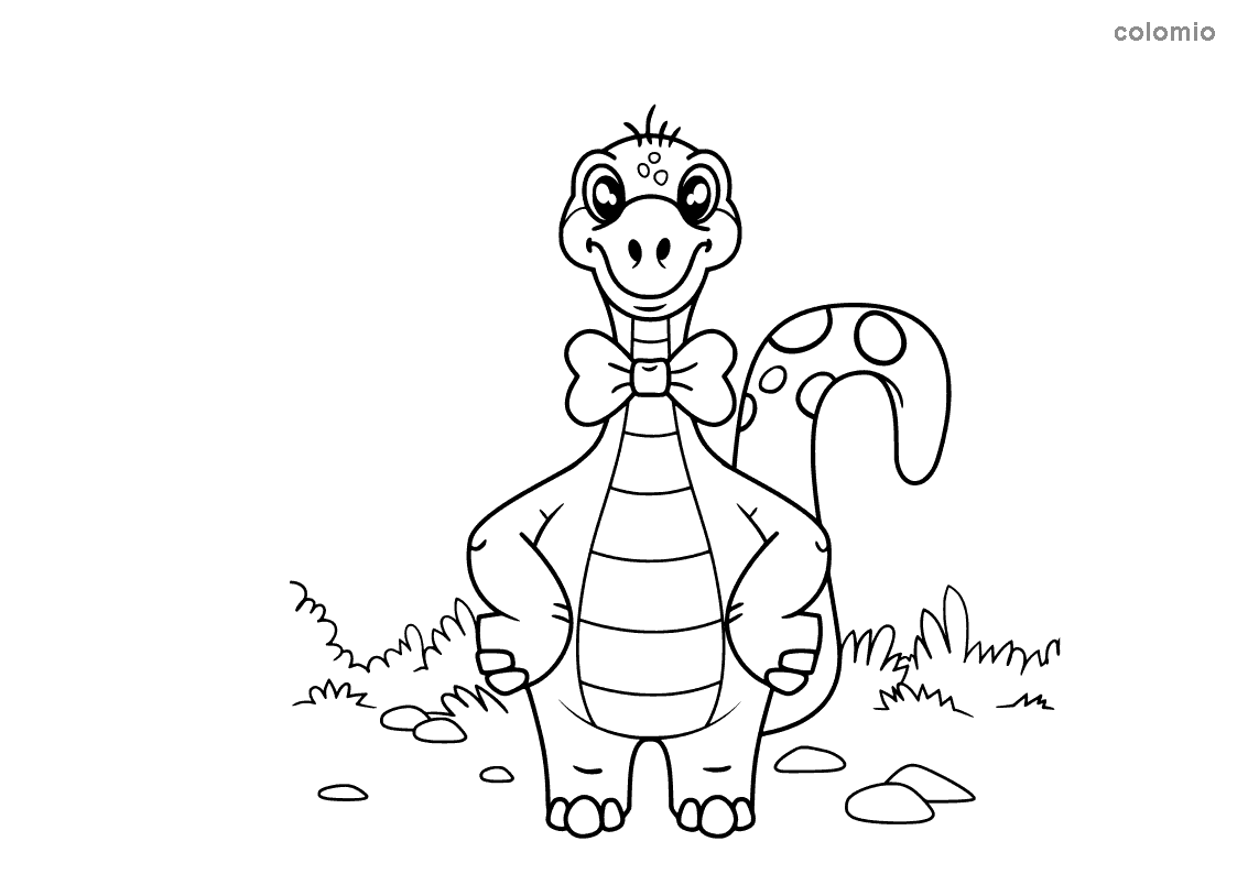Dino with bow tie coloring page