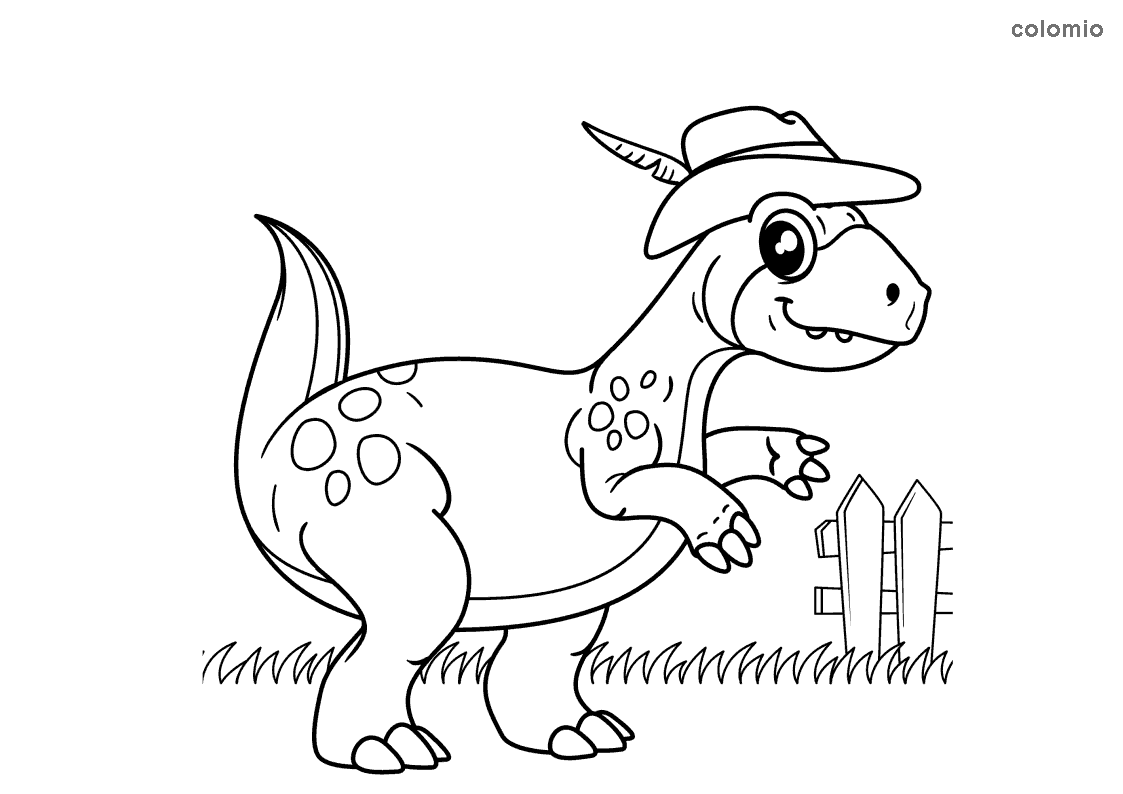 Dibujo de Dino con sombrero para colorear