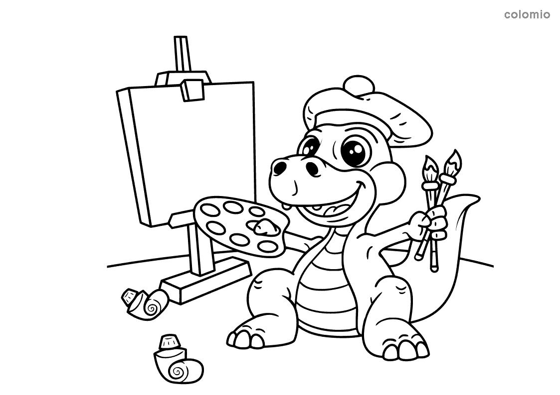 Dino with easel coloring page