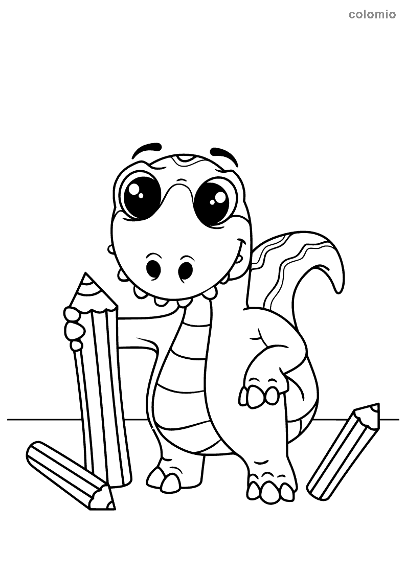 Dino with pens coloring page