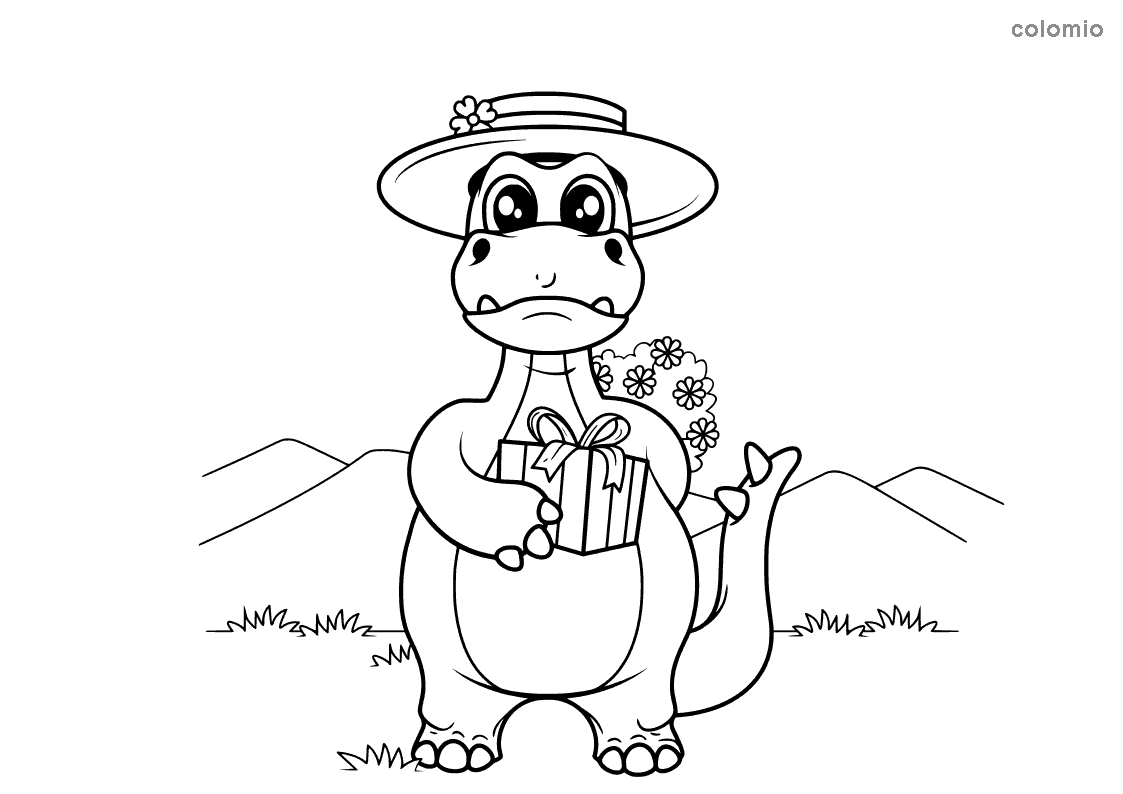 Dino with present and flowers coloring page