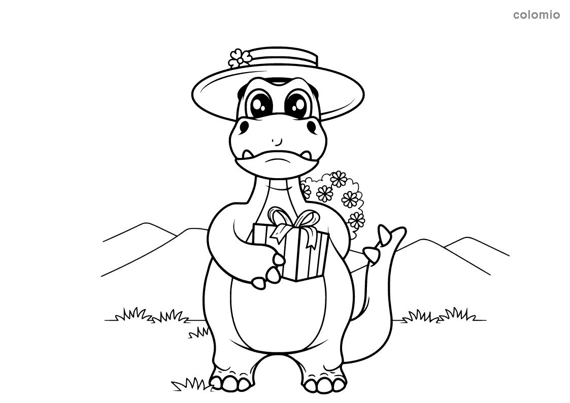 Dibujo de Dino con sombrero y regalo para colorear