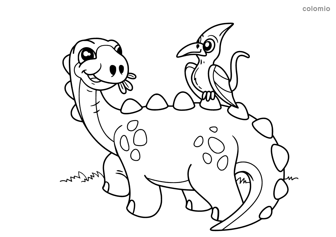 Funny dinosaur with bird coloring page