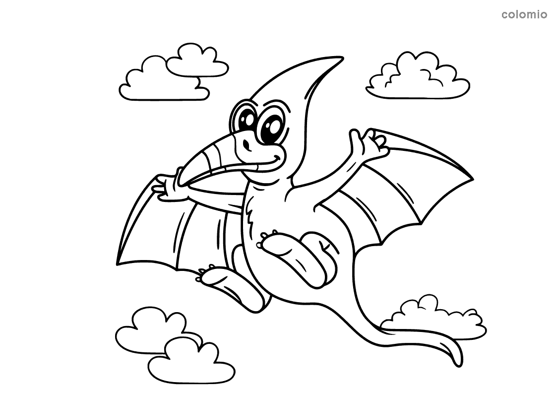 Funny pteranodon coloring page