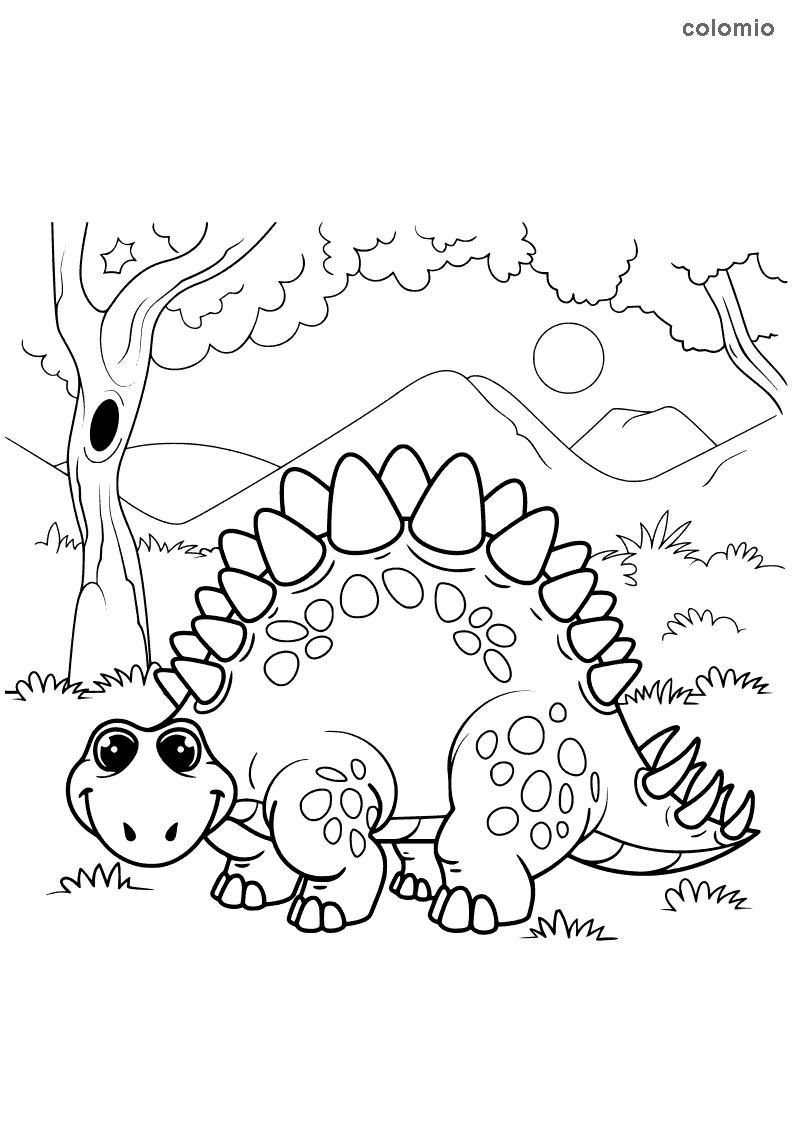 Funny stegosaurus coloring page