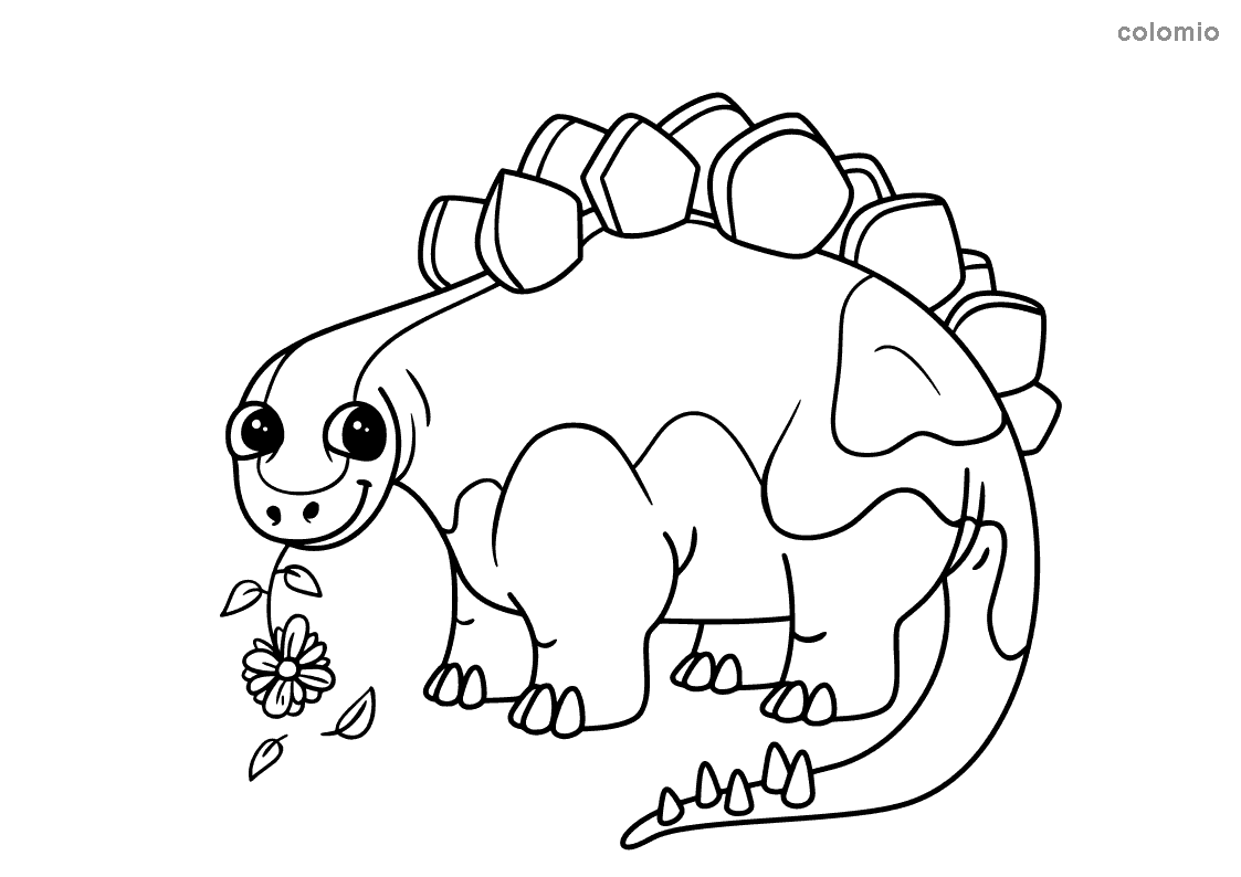 Stegosaurus with flower coloring page
