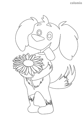 Cute dog with flowers coloring page