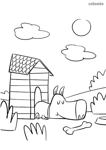 Dibujo de Perro durmiendo en la caseta para colorear