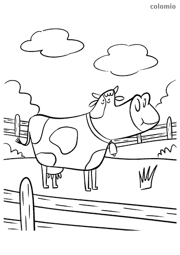 Funny cow behind a fence coloring page