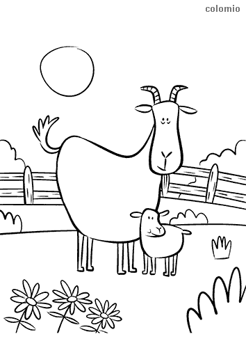 Cute goat with fawn coloring sheet