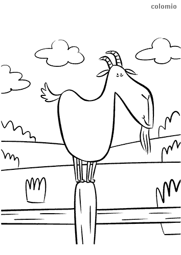 Funny goat with a view coloring page