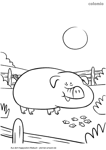 Big pig with acorns coloring page