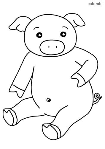 Cute pig coloring sheet