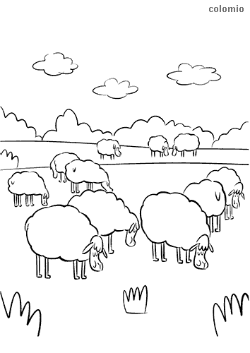 Flock of sheep at breakfast coloring page