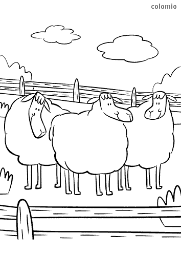 Flock of sheep coloring page