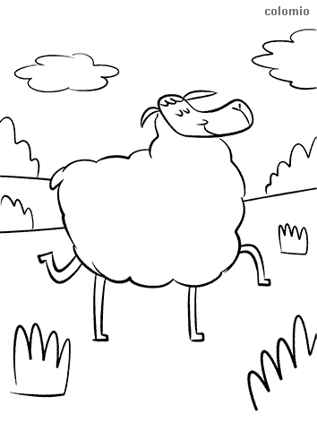 Funny dreaming sheep coloring sheet