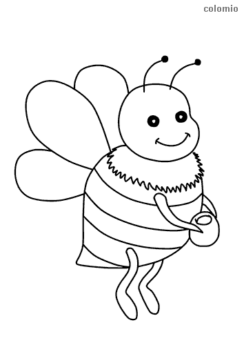 Cute bee with honeypot coloring page