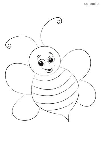 Smiling bee coloring page
