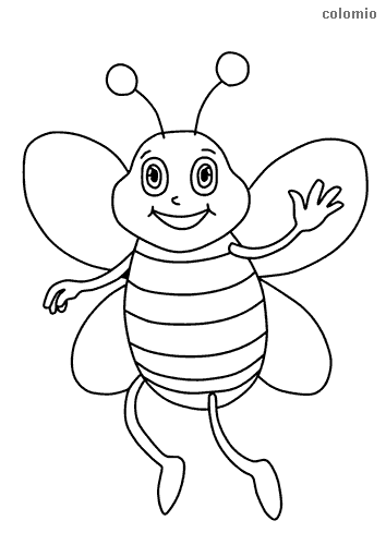 Winking bee coloring sheet