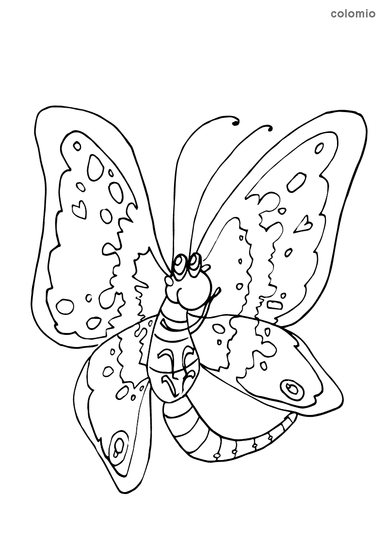 Funny butterfly coloring page