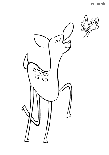 Fawn with butterfly coloring page
