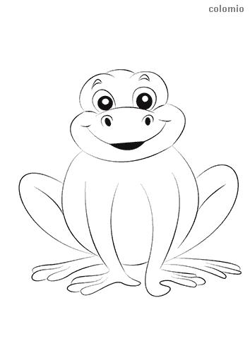 Dibujo de Rana sencilla sonriendo para colorear