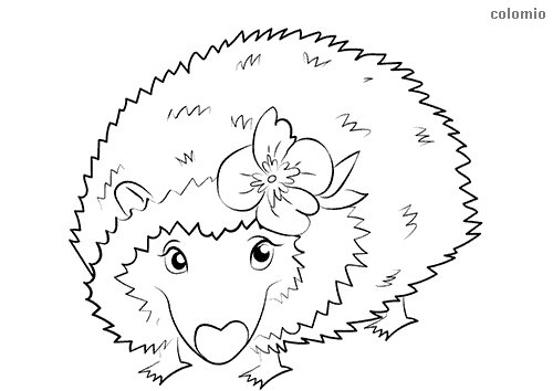 Cute hedgehog with flower coloring page