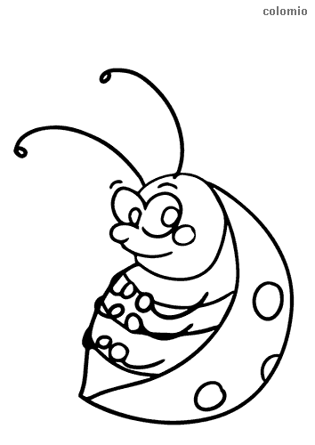 Thoughtful ladybug coloring page