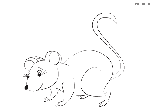 Cute mouse girl coloring page