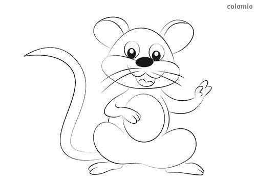 Dibujo de Ratón sonriendo para colorear