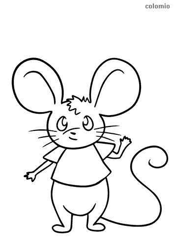 Waving mouse coloring sheet