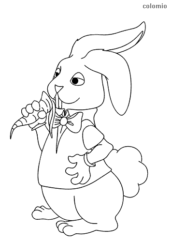 Funny hare with carrot coloring page