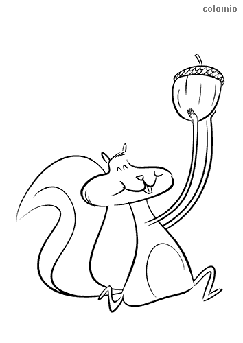 Running squirrel with acorn coloring page
