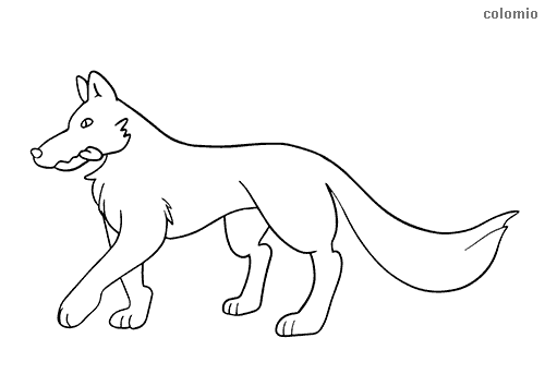 Easy wolf coloring page