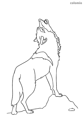Simple howling wolf coloring page
