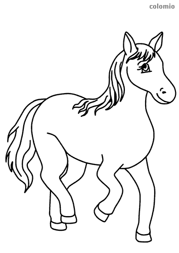 Dibujo de Caballo sencillo sonriendo para colorear