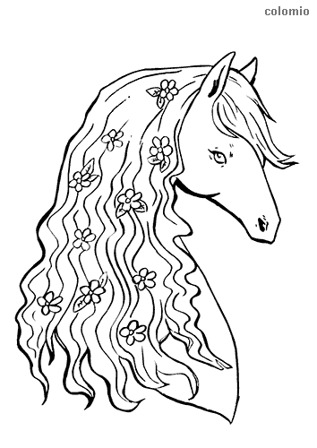 Horse head with flowers in mane coloring pages