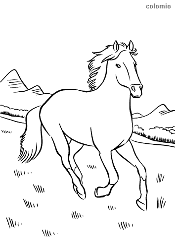Horse in the mountains coloring page
