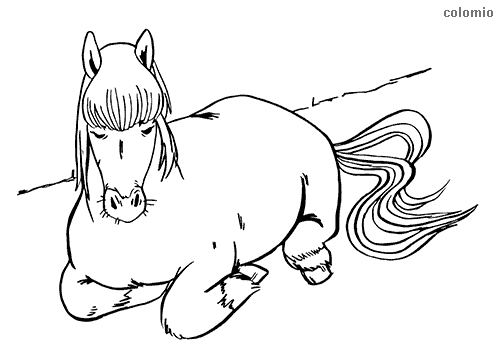 Sleeping horse coloring sheet