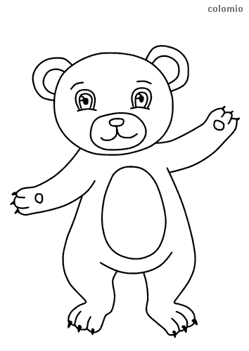 Easy bear coloring page