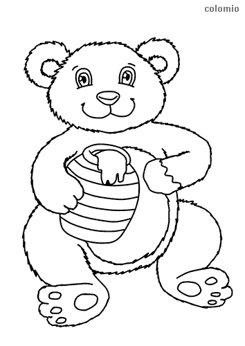 Little bear with honey pot coloring page