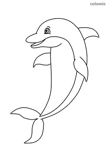 Smiling dolphin coloring sheet