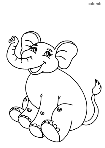 Laughing elephant coloring page