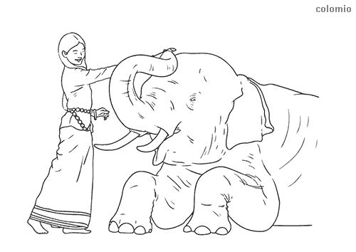 Woman with elephant coloring sheet