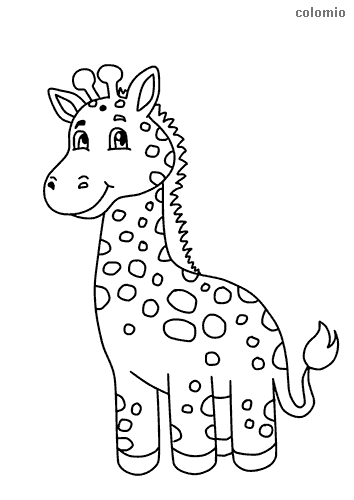 Cute giraffe baby coloring page