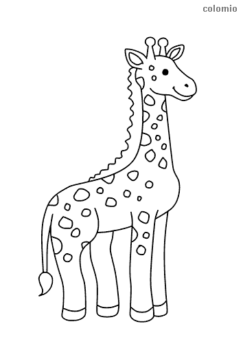 Dibujo de Jirafa sencilla y alegre para colorear