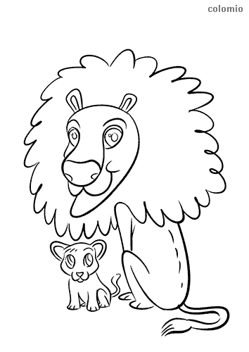 Funny lion with baby coloring page